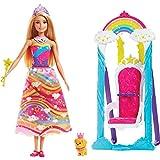 Barbie Dreamtopia poupée princesse Arc-en-Ciel avec sa balançoire, peigne amovible et figurine de chiot, jouet pour enfant, FJD06
