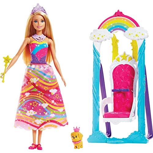Barbie- princess swing dreamtopia altalena arcobaleno, con principessa, multicolore, fjd06