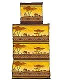 one-home 2 tlg Bettwäsche 135x200cm Afrika gelb Microfaser Dämmerung