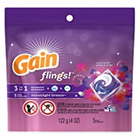 Gain flings! HE Moonlight Breeze Scent Laundry Detergent Capsules, 5 count, 4 oz by GAIN