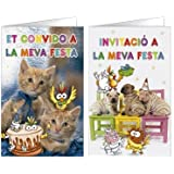 TARJETA DE INVITACION ARGUVAL FANTASIA MASCOTAS BLISTER 8 UNIDADES SURTIDAS CATALAN (15 unid.)