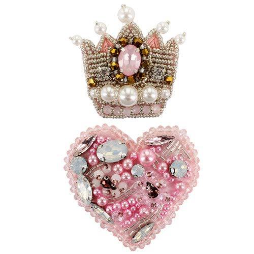 EMDOMO Perlen-Brosche, Strasssteine, Rosa, Herz-Anstecker, Strasssteine, zum Aufnähen, für Schuhe, Strumpf, 2 Stück - Perlen-3 Stück-hose