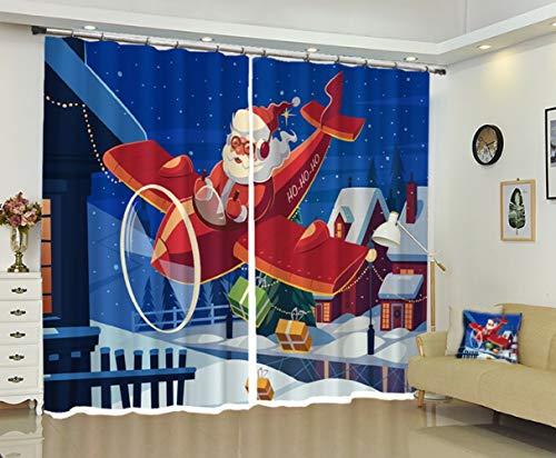S-vision Vorhänge 3D 2 Panel Eyelet Ring Top Anti-UV Thermal Blackout Print Weihnachts-Persönlichkeit Vorhänge, Einschließlich Haken Und Römischen Ringen - Santa Claus,D-W203cmH213cm -