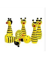 Boule de bowling en bois de Massif, 2boules et 6broches, jaune, les fourmis