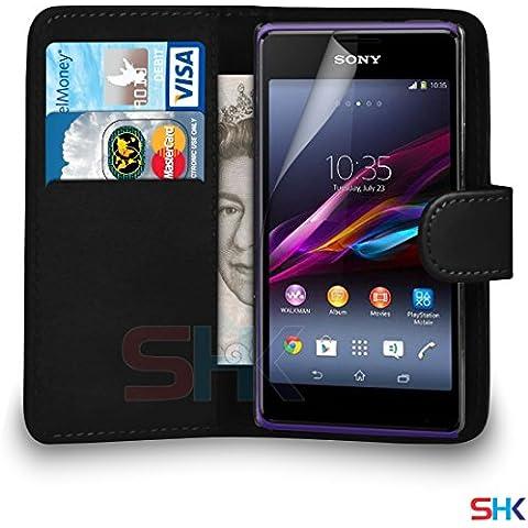 Sony Xperia E1 Nero raccoglitore dell'unità di elaborazione del cuoio di caso di vibrazione del sacchetto della copertura + protezione dello schermo e panno di lucidatura DA SHUKAN