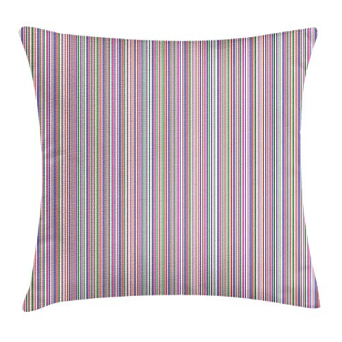 Pinstripe Throw Pillow Cushion Cover, Abstarct Design Vibrant Pastel Color Multi Sized Stripes and Uneven Plain Lines, Decorative Square Accent Pillow Case, 18 X 18 Inches, Multicolor