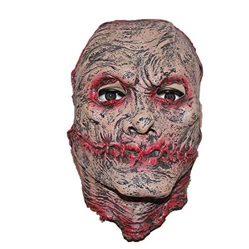 Gesicht Kostüm Narbe - MIANJV Halloween Halbes Gesicht Narbe Horror Maske Neuheit Lustige Latex Gummi Gruselige Kopf Masken Gesicht Frightful Nightmare für Karneval Kostüm Party