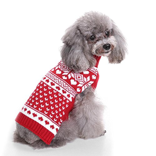 Klassische Rote Schneeflocke Haustierbekleidung Strickjacke FüR Hunde LNAG , (Kostüm Britischen Der Mantel Roten)