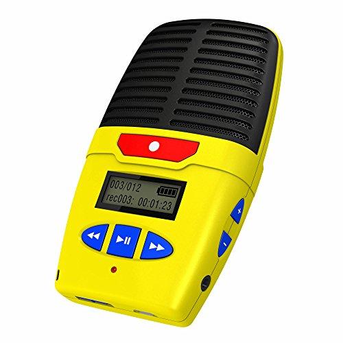 Talking Products Micro Speak Digital Voice Recorder, 8 GB Speicher, wiederaufladbares tragbares Diktiergerät mit eingebautem Mikrofon, Lautsprecher und USB, 96 Stunden Aufnahmezeit - Gelb