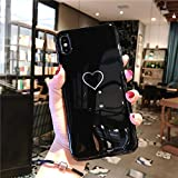 DREAMBAB Fundas Couple Phone Case For iPhone XS MAX XR X Love Heart Back Cover For iPhone 6 6S 7 8 Plus Glossy Letter Soft TPU Cases For iPhone 7 Plus Sj7301 Black
