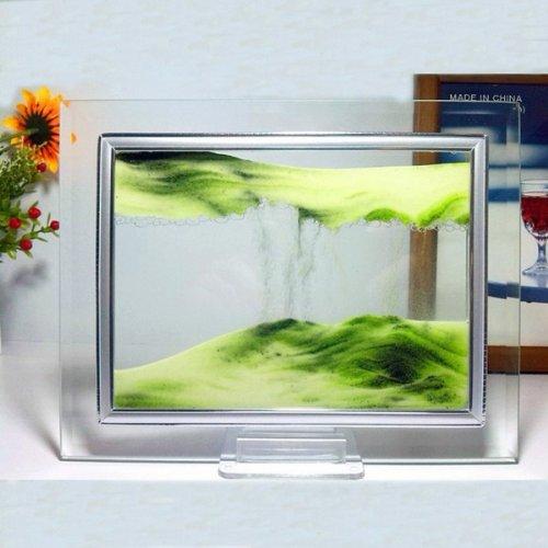 Verde Sand Moving Glass Picture Home Office Scrivania decorazione di compleanno regalo di natale w / Holder