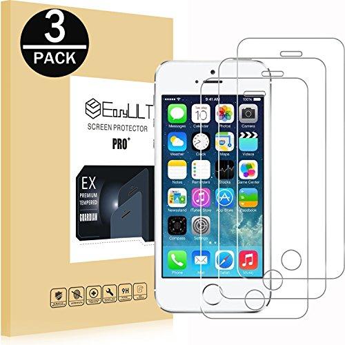 EasyULT Verre Trempé pour iPhone 5S[3-Pièces], pour iPhone 5S/SE/5/5C Film Protection écran Protecteur d'écran Vitre Tempered Glass Screen Protector