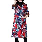 Kanpola Winterjacke Damen Mode Frauen Herbst Winter Steppjacke Wintermantel Windbreaker Langarm Parka Jacke Mantel Outwear mit Kapuze Angebote(40, AS-Rot)