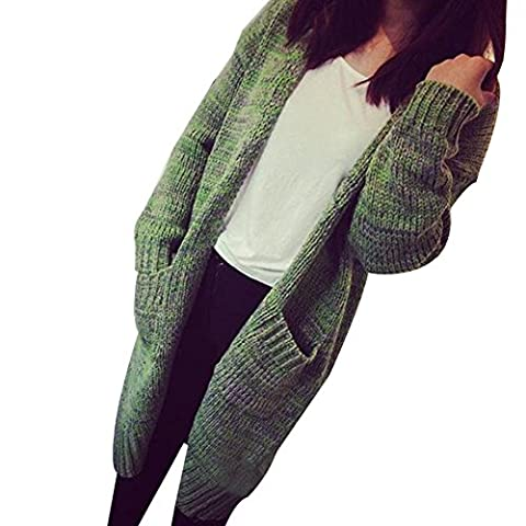 YOUJIA Femmes Cable Tricoté à Manches Longues Chunky Long Cardigan Coat Pull Gilets Loose Chandail Sweater avec Poches (#2 Vert)