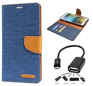 Relax&Shop Premium Drop Protection Wallet Flip cover For Micromax Xpress 2 E313- ( Matte Blue + OTG )