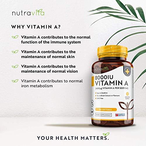 51zP6MKgAgL - Vitamina A 8000 UI - Suministro para 1 año - 365 cápsulas blandas de la máxima potencia, fáciles de tragar - 2400μg de vitamina A en cada cápsula - Producto elaborado por Nutravita en el Reino Unido