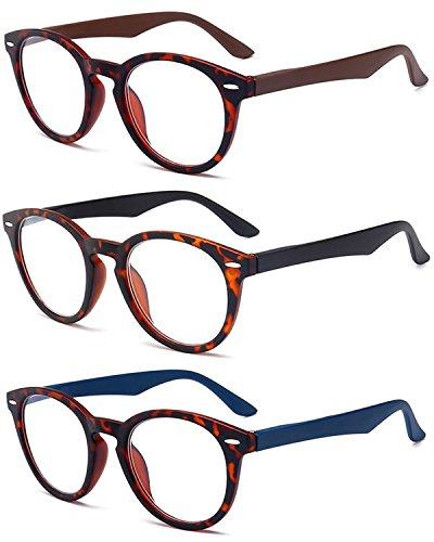 VEVESMUNDO Lesebrillen Damen Herren Rund Retro Nerd Groß Design Vollrand Federnscharnier Lesehilfe Sehhilfe Brillen mit dioptrien 1.0 1.5 2.0 2.5 3.0 3.5 4.0 (+3.5, 3 Farben(Schwarz+Braun+Blau))