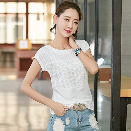 e T-Shirt literarischen Fan Frauen Frauen koreanischen T-Shirt weiß L ()