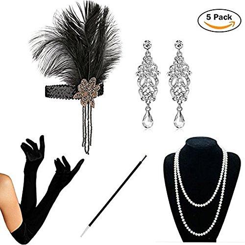1920er Jahre Zubehör Set - 5PCS Flapper Kostüm für Damen Accessoires Set 20s Gatsby Retro Stil Kostüme Stirnband Perlen Halskette Handschuhe Zigarettenspitze