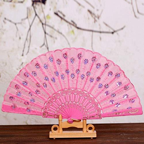 Peacock Print Seide (WANGYUJIN Faltfächer Folding Fan Summer Women Girl Dancing Fan Elegant Plum Peacock Flower Print Folding Hand Fans Pink)