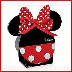 Ingrosso e Risparmio Gros et épargne 12Originales étuis Disney avec Silhouette Visage de Minnie Noires et Rouges avec Grand nœud, confettata, Bomboniere Anniversaire Fille 2018