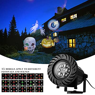 LESHP Christmas Landscape Projector Lights halloween light projector RF RC Spotlight Rotating Projection Light with 15 pcs Pattern Lens from LESHP