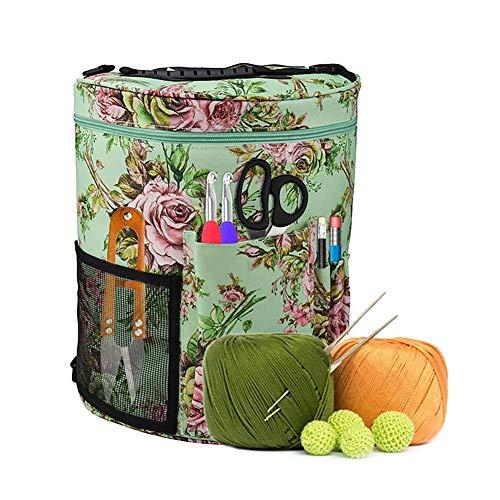 Ridecle DIY Knitting Bag Garn Lagerung Tote Bag Organizer mit Schultergurt zum Tragen von Nadeln Haken Häkeln Wolle und andere Strickzubehör, tragbare Travel Storage Knitting Bag (Kostenlose Garn)