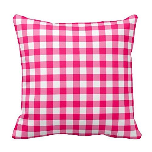 Bags-Online Trendy Plaids Lattice Design in Hot Pink Square Pillow Case Decor Cushion Covers Hot Pink Plaid Design