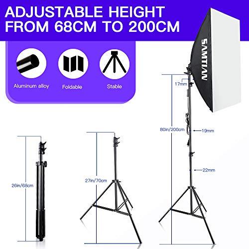 SAMTIAN-Softbox-Kit-5500K-illuminazione-Continua-Studio-Luce-Fotografia-Kit-20x2850x70cm-con-Lampadina-85W-E27-e-Treppiedi-2M