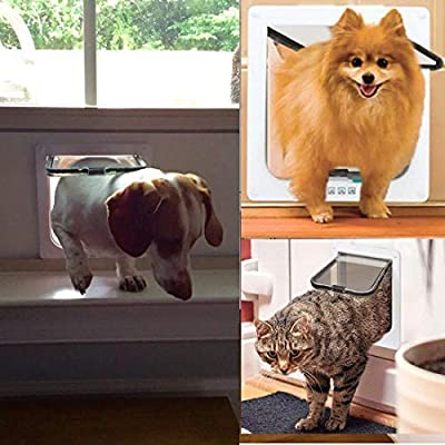 Sailnovo Cat Flap 4 Ways Locking Pet Door flap 23.5 * 25 * 5.5cm, Pet Door Kit for Cats and Small Dogs with Telescopic Frame, Installing Easily by Sailnovo