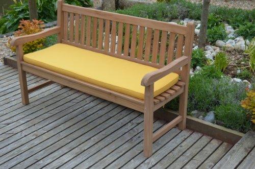 3 Sitzer (1,4m / 4.6ft) Klassische Gartenbank Kissen - Kissen Nur - Gelb