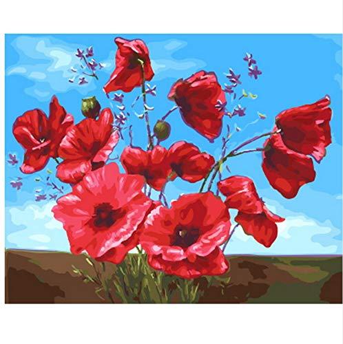 XIGZI Bild ölgemälde by Zahlen wanddekor DIY malerei auf leinwand für wohnkultur rote mohnblume 40x50 cm,Ohne Rahmen,H