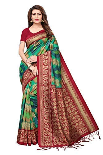 Color Silk Saree (Art Decor Sarees Silk Saree with Blouse Piece (red Black Color ee_Black & Red_Free Size))