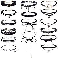 Set de 16 gargantillas negras, de estilo gótico, clásico, de terciopelo, elástico, de encaje, lazo