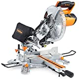 VonHaus 2000W 255mm (10″) Sliding Compound Single Bevel Mitre Saw- Powerful Performance with +45° / -45° Versatility – Easily Cuts Through Woods & Plastics – Laser Guide, Extension Bars & Dust Bag.