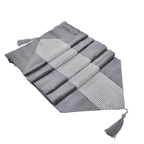 DegGod Luxus Samt stilvolle atmosphäre minimalistischen modernen Diamanten Tischläufer / Tischdecke Couchtisch Tuch und zwei Quasten (32 x 185 cm) (Silber) - 4