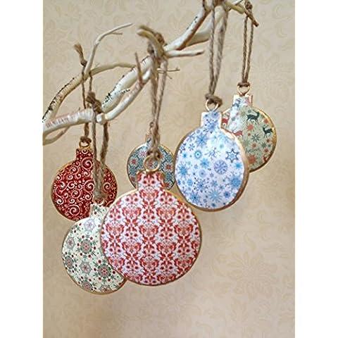 Insieme Di 6 Vintage Natale appeso metallo ornamento dell'albero stella Bauble Decorazioni