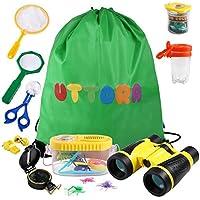 Kit de Exploración para Niños 19 en 1, Juego de Explorador para Niños para Niños UTTORA Prismáticos/Binoculares, Silbato, Brújula, Lupa, 6 Arañas Plasticas, Regalo para Navidad, los Reyes