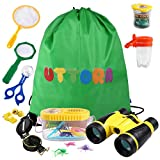 UTTORA Draussen Forscherset, Kinder fernglas 17 Stück Kids Adventurer Explorer Set mit Bug Catcher Pinzette Insect Viewer Kompass Lupe & Schmetterlingsnetz für Camping (Gelb)