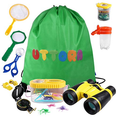 cherset, Kinder fernglas 17 Stück Kids Adventurer Explorer Set mit Bug Catcher Pinzette Insect Viewer Kompass Lupe & Schmetterlingsnetz für Camping (Gelb) ()