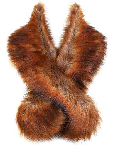 ArtiDeco Damen Kunst Pelz Schal Flauschig Faux Pelz Umschlagtuch Kragen für Wintermantel 1920er Jahre Flapper Accessoires Outfit Warm Zubehör 120 cm lang (Rotbraun)