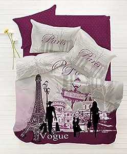 100% coton 3pièces Paris Vogue Violet Unique Twin/Housse de couette de couette Parure de lit
