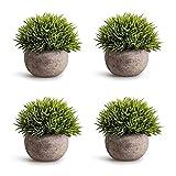 CDWERD 4 Stück Künstliche Topfpflanzen Mini Grün Gras Bonsai mit Grauen Topf, Miniplastik Dekorative Kunstpflanze für Zuhause Wohnung Büro Dekor Hochzeit Geburtstag