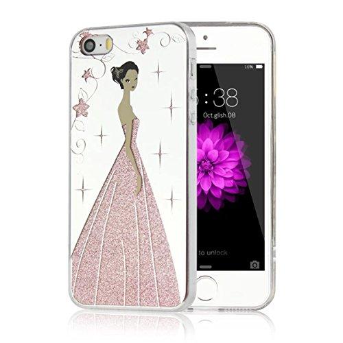 MOONCASE iPhone 5 Coque, Bling Glitter Etui TPU Silicone Antichoc Housse Case pour iPhone 5 / 5s / SE (Rose Fille - Or) Étoile Fille - Rose