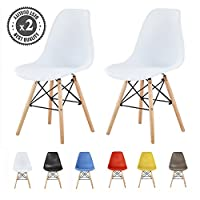 MCC Set of 2 Modern Design Dining Chairs Retro Lounge Chairs, LIA (White)