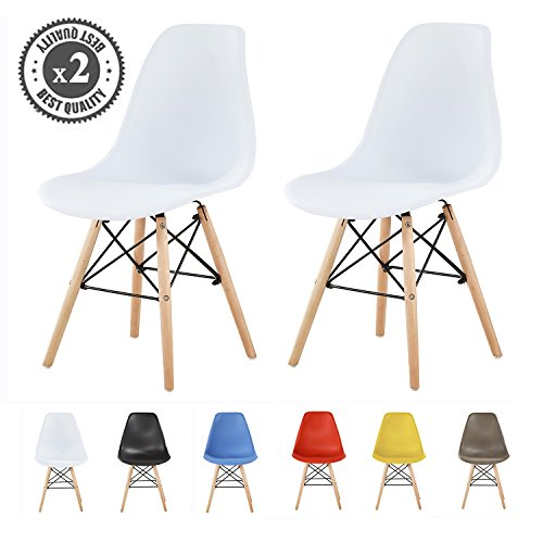 Set of 2 Modern Design Dining Chairs Retro Lounge Chairs, LIA by MCC (White)