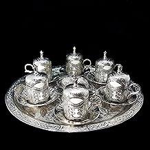 Ottoman Turkish Silver Brass Tea Coffee Saucers Cups Tray Set - TOP UK SELLER _Set B
