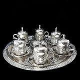 Ottomane Türkisch Silber Messing Tee Kaffee Untertasse Tassen Tablett Set - UK-TOP-SELLER _Set B