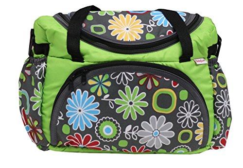 Preisvergleich Produktbild BABYLUX Wickeltasche Kinderwagentasche mit Wickelunterlage Gänseblümchen (29. Gänseblümchen Grün)