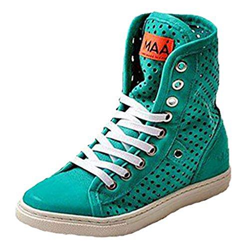 M-Aa Spanische MAA Schuhe Leder Knöchel High Sneaker Halbschuhe smaragd grün (38)